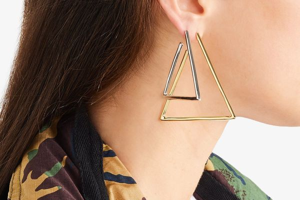 Jennifer Fisher Triangle Silver and Gold Plated Earrngs