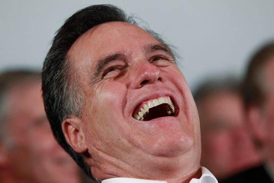 Republican presidential candidate, former Massachusetts Gov. Mitt Romney, laughs as Sen. John McCain, R-Ariz., tells jokes as he campaigns in Hilton Head, S.C., Friday, Jan. 13, 2012.