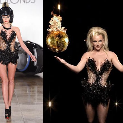 On the runway (left), on Britney (right).