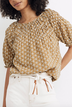 Madewell Daisy Embroidered Shirred Puff-Sleeve Top