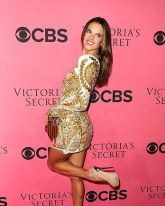 COSTA MESA, CA - NOVEMBER 29: Model Alessandra Ambrosio arrives at the 2011 Victoria's Secret Fashion Show Viewing Party at the Samueli Theater, Segerstrom Center for the Arts on November 29, 2011 in Costa Mesa, California. (Photo by Frazer Harrison/Getty Images)