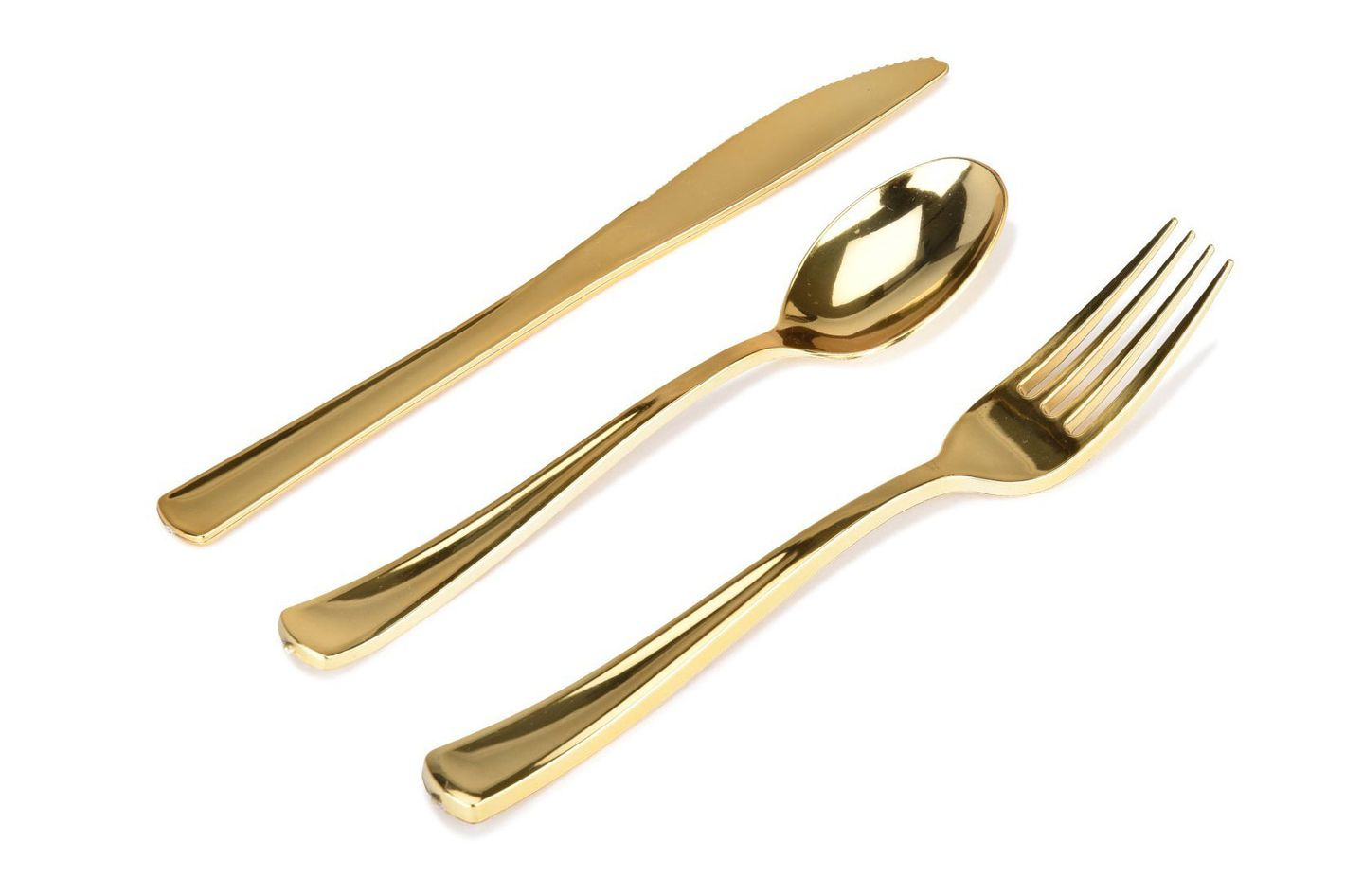 Stock Your Home 300-Piece Plastic Silverware Set, Looks Like Gold Cutlery
