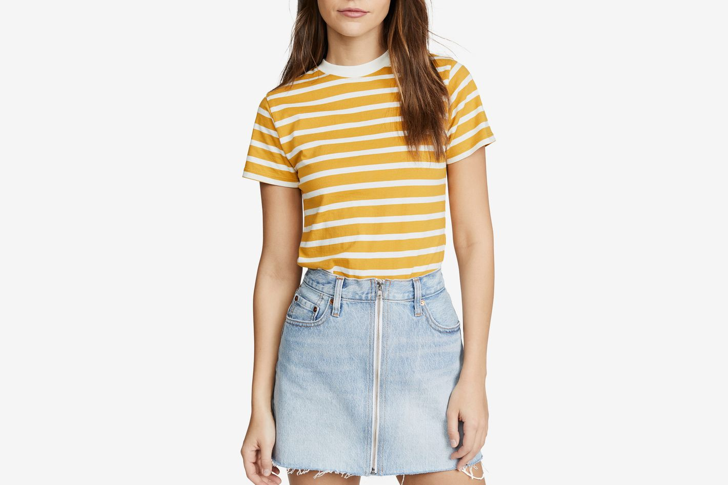 Hanes x Karla The Stripe Crew Tee Mustard/Off White