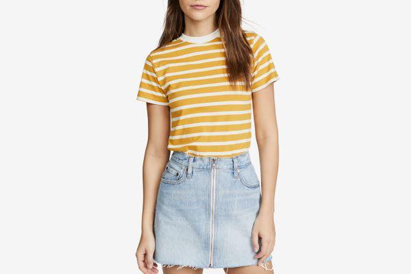 Hanes x Karla The Stripe Crew Tee Mustard/Off White