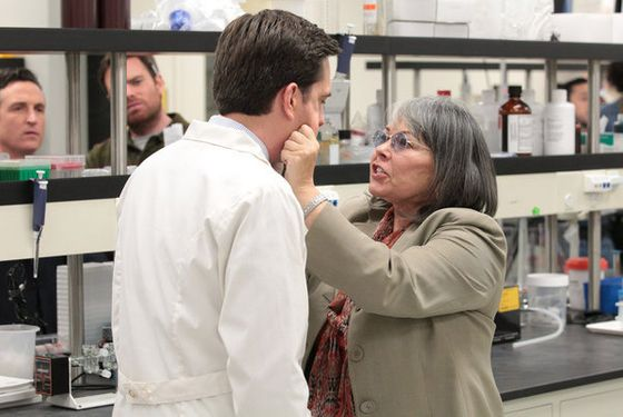 "THE OFFICE -- ""Paper Airplane"" Episode 920 -- Pictured: (l-r) Ed Helms as Andy Bernard, Roseanne Barr as Carla Fern -- (Photo by: Chris Haston/NBC)"