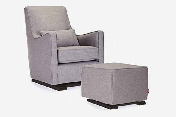 Monte Design Upholstered Modern Nursery Luca Glider Chair and Ottoman