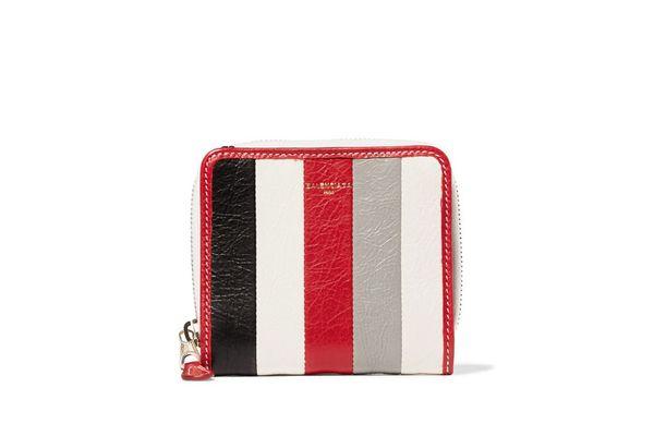 BALENCIAGA Bazar striped textured-leather wallet