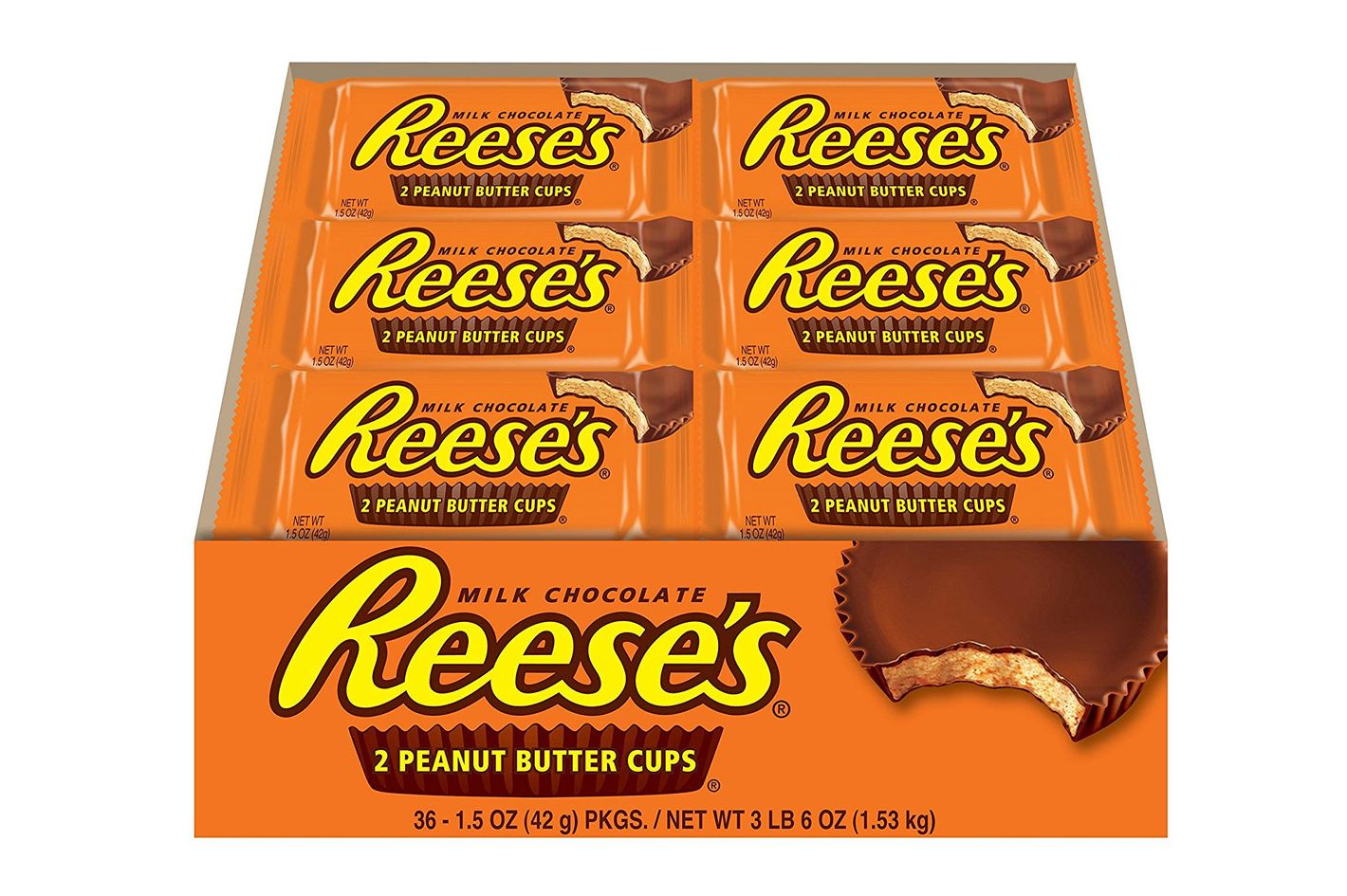 Reese's Peanut Butter Cup, Milk-Chocolate-Covered Peanut Butter Cup Candy, 1.5-Ounce Package (Pack of 36)