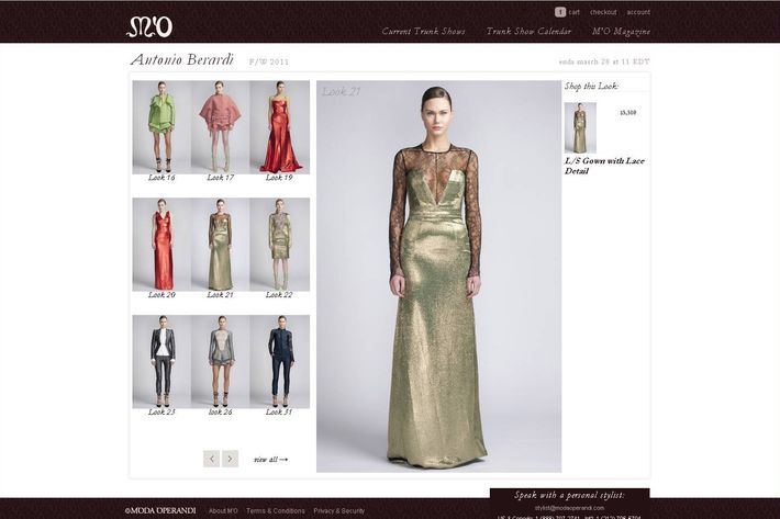 The Antonio Berardi sale on now at MO. The big green dress is Look 21, $5,510.