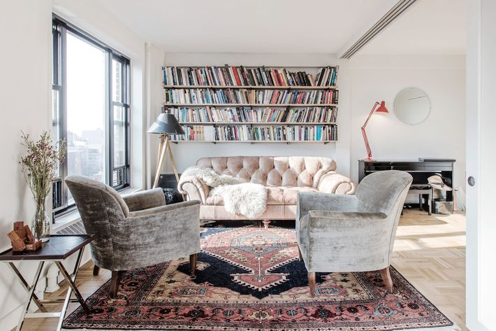 Designer Kumar Atre and his wife, artist-designer Casey Leigh Miller Atre, purchased this 800-square-foot one-bedroom in the Clinton Hill Co-ops last May.