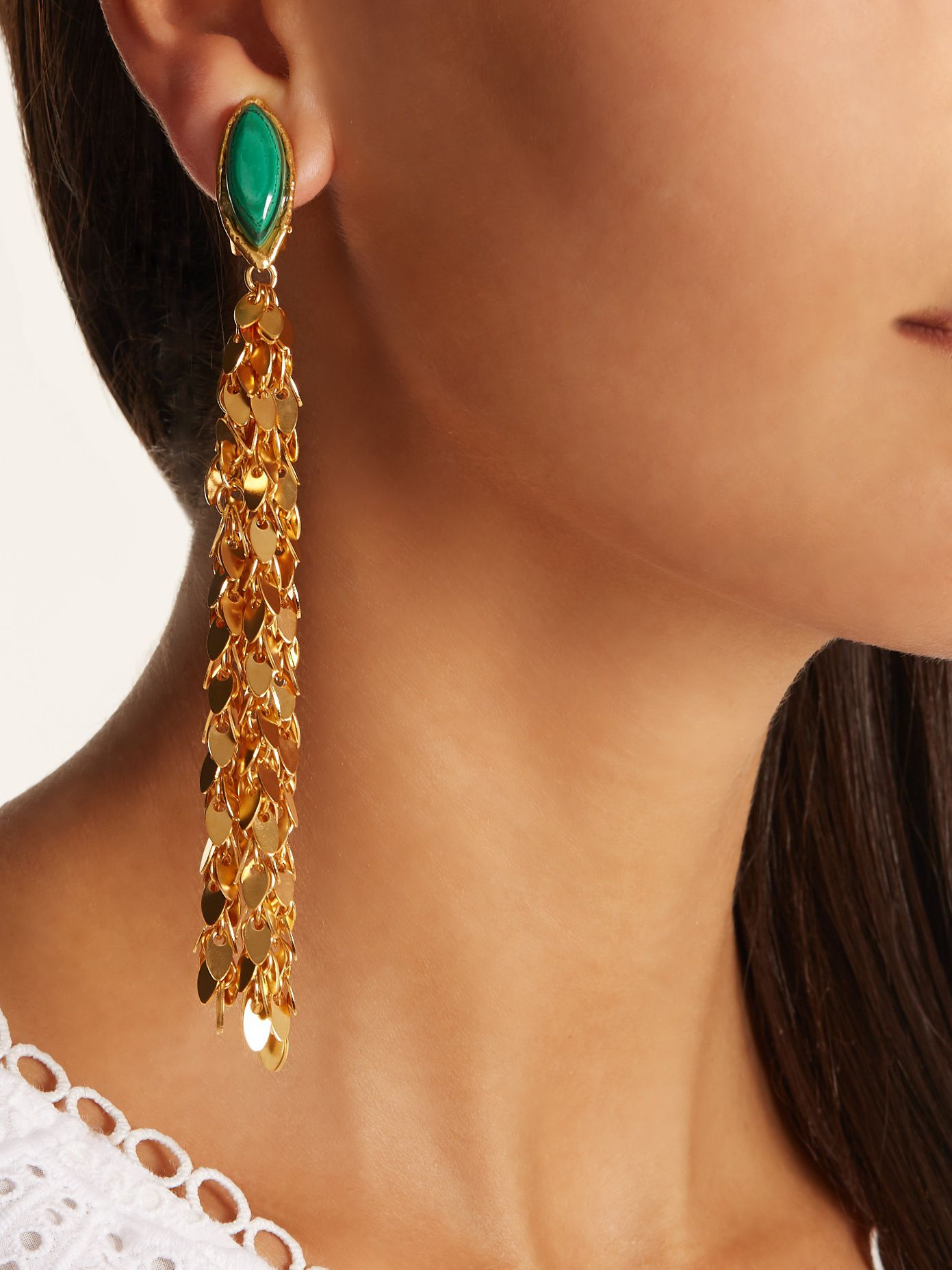 earrings luxury gold on shop cliponearringschic vintage online clip statement chandelier drop