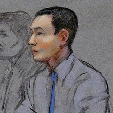 16 Jul 2014, Boston, Massachusetts, USA --- FILE - In this May 13, 2014 file courtroom sketch, defendant Azamat Tazhayakov, a college friend of Boston Marathon bombing suspect Dzhokhar Tsarnaev, sits during a hearing in federal court in Boston. Tazhayakov, of Kazakhstan, is accused with another friend of removing items from Tsarnaev's dorm room, but is not charged with participating in the bombing or knowing about it in advance. The jury began deliberating in the case Wednesday, July 16, 2014, after closing arguments in the first trial related to the 2013 bombings, which killed three people and injured more than 260. (AP Photo/Jane Flavell Collins, File) --- Image by ? Jane Flavell Collins/AP/Corbis