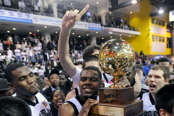 Long Island players celebrate after defeating Robert Morris 85-82 in overtime to win the Northeast Conference Championship NCAA college basketball game Wednesday, March 9, 2011 in New York. (AP Photo/Bill Kostroun)