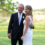 In this handout image provided by the White House, President George W. Bush and Jenna Bush pose for a photographer prior to her wedding to Henry Hager at Prairie Chapel Ranch May 10, 2008 near Crawford, Texas.