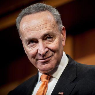 14 Jan 2014, Washington, DC, USA --- Senator Chuck Schumer (D-NY) speaks to the media about the failure of a procedural vote to end debate and advance an unemployment insurance extension bill forward for a final vote during a press conference on Capitol Hill. --- Image by ? Pete Marovich/Corbis