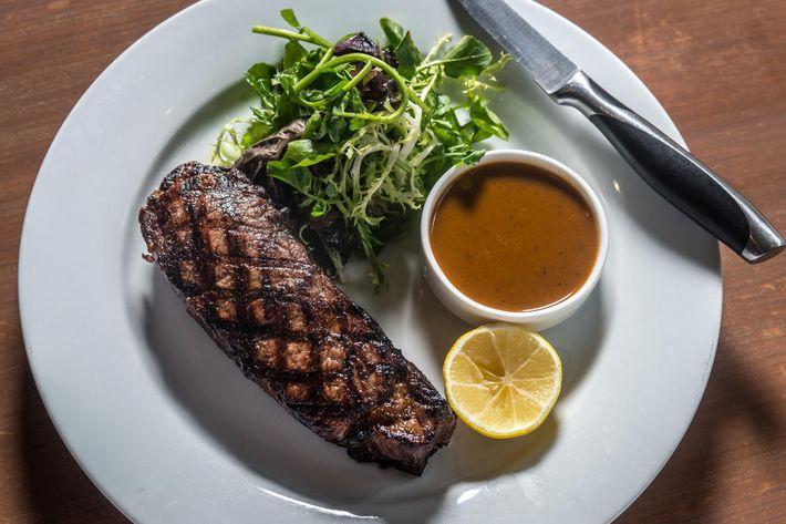 Dry-aged prime New York strip steak.