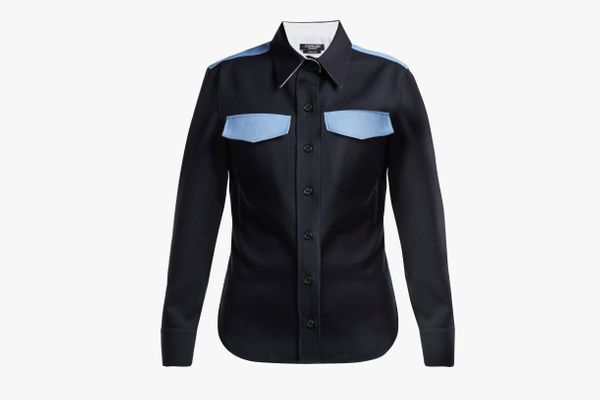 Calvin Klein 205W39NYC Contrast-Panel Wool Shirt