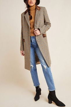 Helene Berman Leopard-Trimmed Plaid Coat
