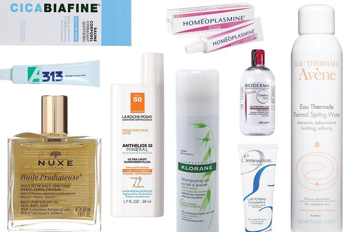 collage of embryolisse concentrated lait cream, bioderma crealine h20 micelle solution, kiorane dry shampoo, nuxe huile prodigieuse, a313 vitamin a pommade, la roche posay anthelios sunscreen, avene thermal water, cicabiafine daily hydrating balm, and homeoplasmine ointment- strategist best skin care products and best french beauty products
