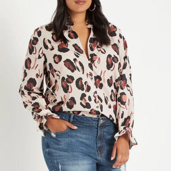 Eloquii Printed Button Down Shirt With Ruffle Neck
