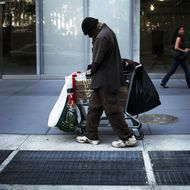 A homeless man walks down the street on June 20, 2011 in New York City. According to an annual report on the city's homeless population conducted by the Coalition for the Homeless, a record 113,553 people turned to shelters last year. This was an eight percent increase over the previous year and is a 37 percent increase since 2002. While the reasons for the increase are numerous, the economy and the unemployment rate played a significant part in the numbers.