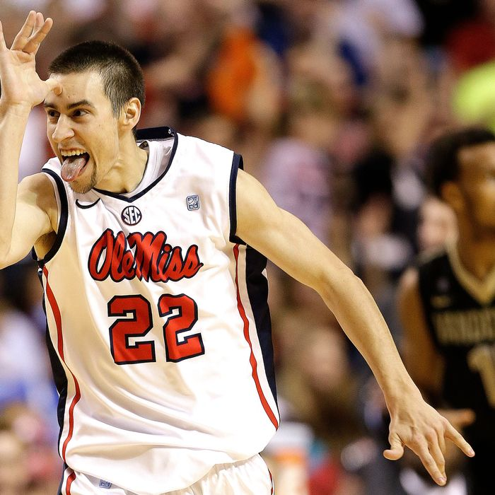 Mississippi guard Marshall Henderson (22) reacts after he made a 3-point shot against Vanderbilt during the second half of an NCAA college basketball game in the semifinals of the Southeastern Conference tournament, Saturday, March 16, 2013, in Nashville, Tenn.