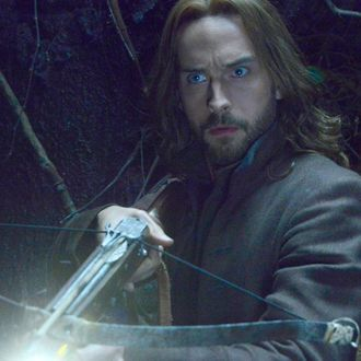 SLEEPY HOLLOW: Ichabod (Tom Mison) faces demonic creatures that guard a secret crypt in the