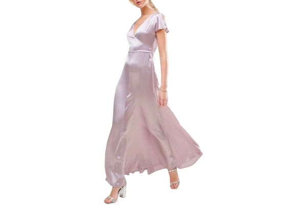 ASOS PREMIUM Wrap Satin Maxi Dress