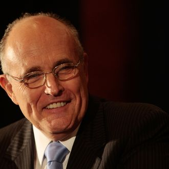 NEW YORK - JULY 30: Former New York mayor and presidential candidate Rudy Giuliani smiles at a question after an economic speech July 30, 2009 in New York City. Giuliani discussed the nation's economy and President Obama's policies at the Crain's New York Business Breakfast Forum and also touched on the issue of whether he plans to run for governor of New York in 2010. (Photo by Chris Hondros/Getty Images) *** Local Caption *** Rudy Giuliani