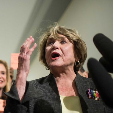 "Rep. Louise Slaughter, D-N.Y., co-chairwoman of the Pro-Choice Caucus, participates in a news conference outside of the House Judiciary Committee on Wednesday, Jan. 15, 2013, to protest ""the all-male Republicans on the House Judiciary Committee"" who will markup H.R.7, the ""No Taxpayer Funding for Abortion Act, which would make sweeping restrictions on women's health options across the country."""