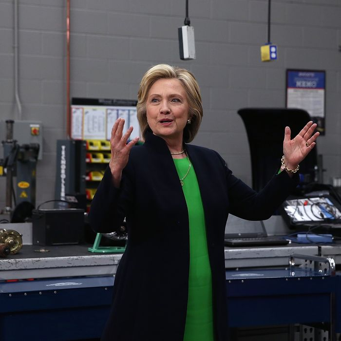 Hillary Clinton talks with members of the media at the Kirkwood Community College Jones County Regional Center on April 14, 2015 in Monticello, Iowa.