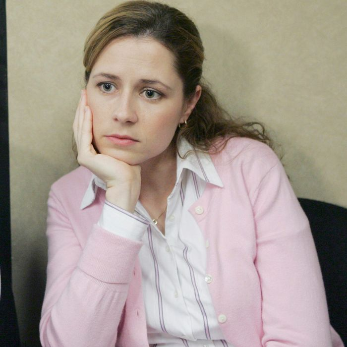 Pam from The Office, wearing an office cardigan — The Strategist reviews better office cardigans.