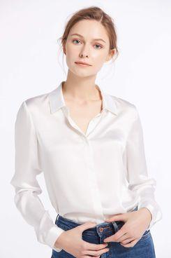 Basic Concealed Placket Silk Shirt