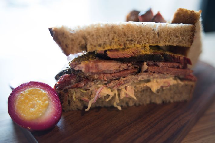 Pastrami on rye with cabbage slaw, Russian dressing, and Gulden's mustard.