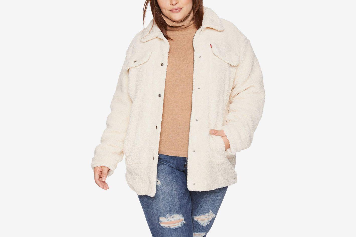 Levi's Women's Plus Size Oversized Long Sherpa Trucker Jacket