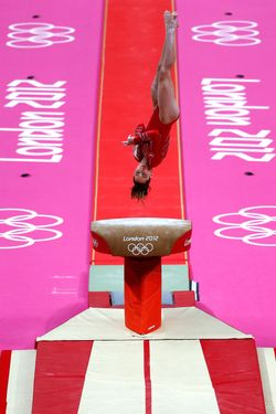 LONDON, ENGLAND - JULY 31:  Mc Kayla Maroney of the United States competes on the vault in the Artistic Gymnastics Women's Team final on Day 4 of the London 2012 Olympic Games at North Greenwich Arena on July 31, 2012 in London, England.  (Photo by Jamie Squire/Getty Images)