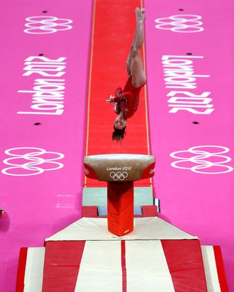 Mc Kayla Maroney of the United States competes on the vault in the Artistic Gymnastics Women's Team final on Day 4 of the London 2012 Olympic Games at North Greenwich Arena on July 31, 2012 in London, England.