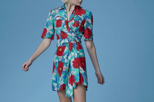 Diane von Furstenberg Short-Sleeve Collared Wrap Dress, Boswell Spearmint