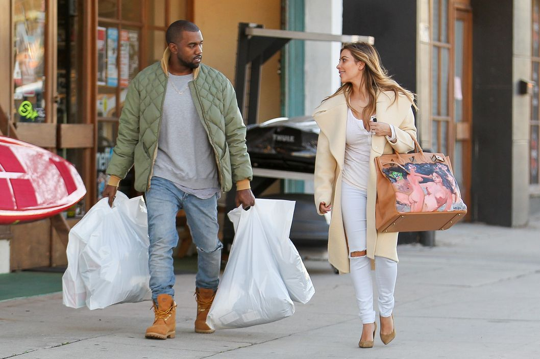 Kim Kardashian and Kanye West shop at a sport store in Los Angeles.