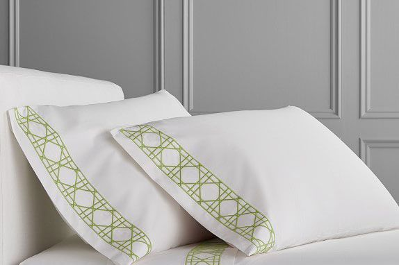 Williams Sonoma Chambers Cane Embroidery Sheet Set