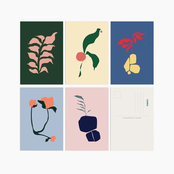 Poketo Abstract Flora Postcards