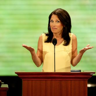 ST. PAUL, MN - SEPTEMBER 02: U.S. Rep. Michelle Bachmann (R-MN) speaks on day two of the Republican National Convention (RNC) at the Xcel Energy Center on September 2, 2008 in St. Paul, Minnesota. The GOP will nominate U.S. Sen. John McCain (R-AZ) as the Republican choice for U.S. President on the last day of the convention. (Photo by Alex Wong/Getty Images)