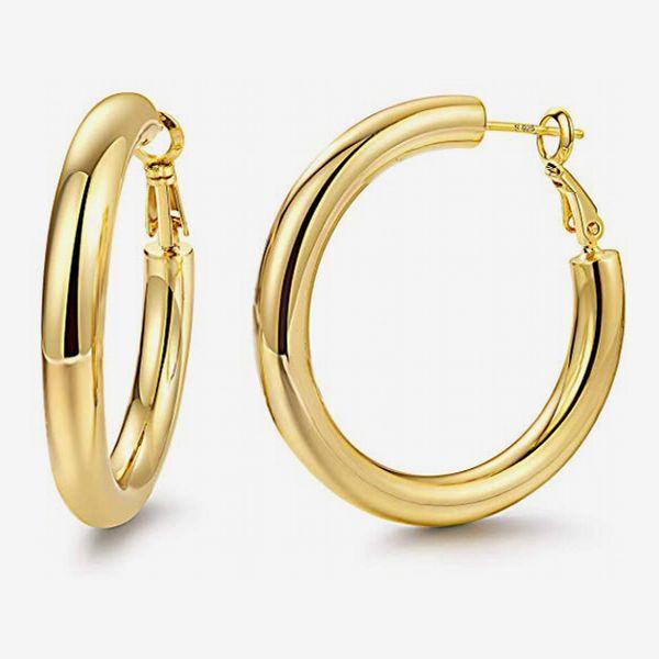 YIBA TECH Hoop Earrings 18K Gold Plated 925 Sterling Silver Post