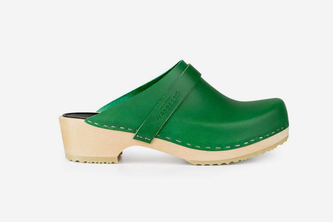 Swedish Hasbeens Husband Clogs, Strong Green