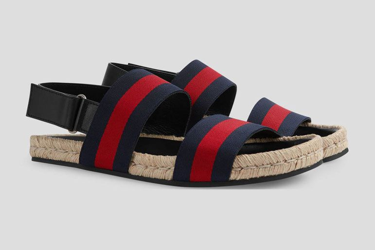 Gucci Web strap sandal - blue/red