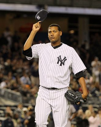 Ivan Nova #47 of the New York Yankees tips his cap as he leaves the game against the Tampa Bay Rays in the ninth inning at Yankee Stadium on June 6, 2012