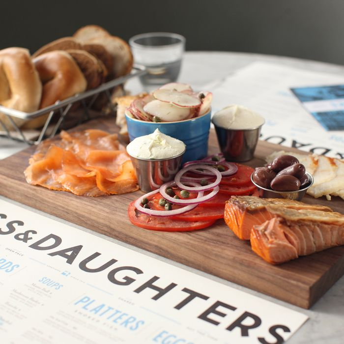 A spread from Russ & Daughters Café on Orchard Street.