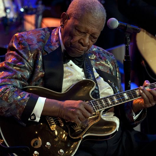 B.B. King plays during a celebration of