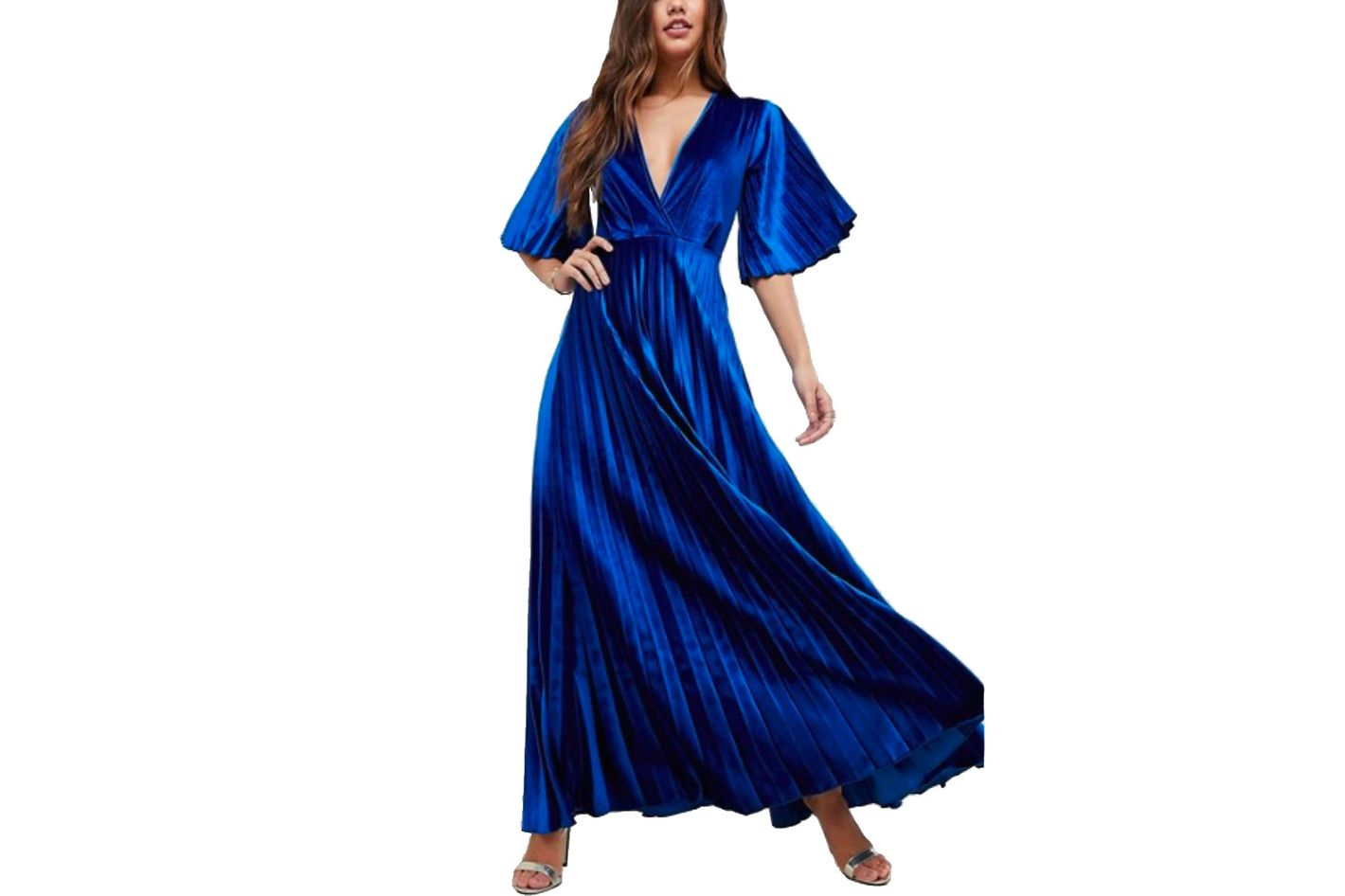ASOS Pleated Velvet Kimono Maxi Dress