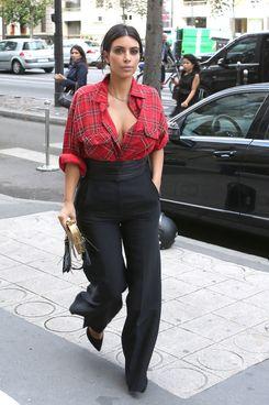 Kim Kardashian Wore Flannel At Fashion Week